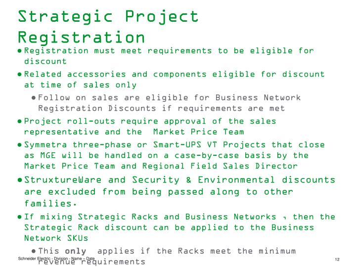 Strategic Project Registration