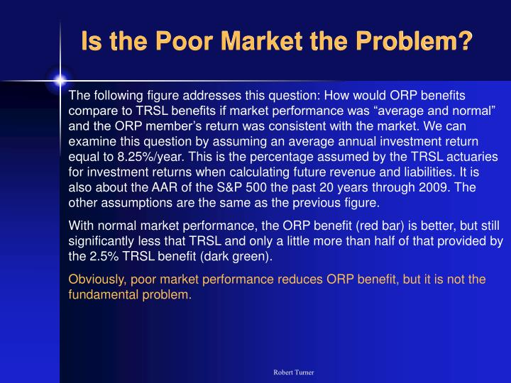 Is the Poor Market the Problem?