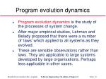 program evolution dynamics
