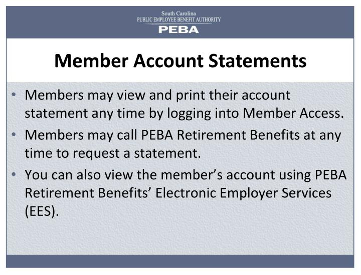 Member Account Statements