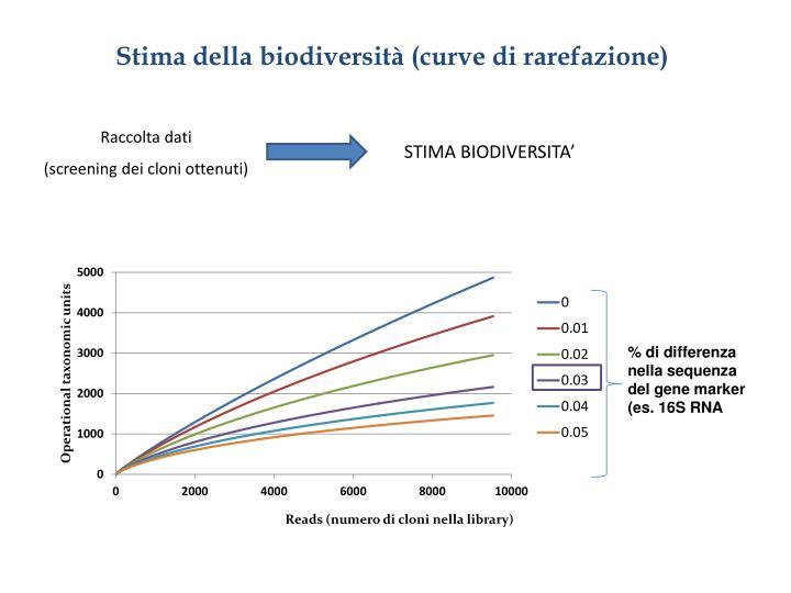 Stima della biodiversità (curve di rarefazione)