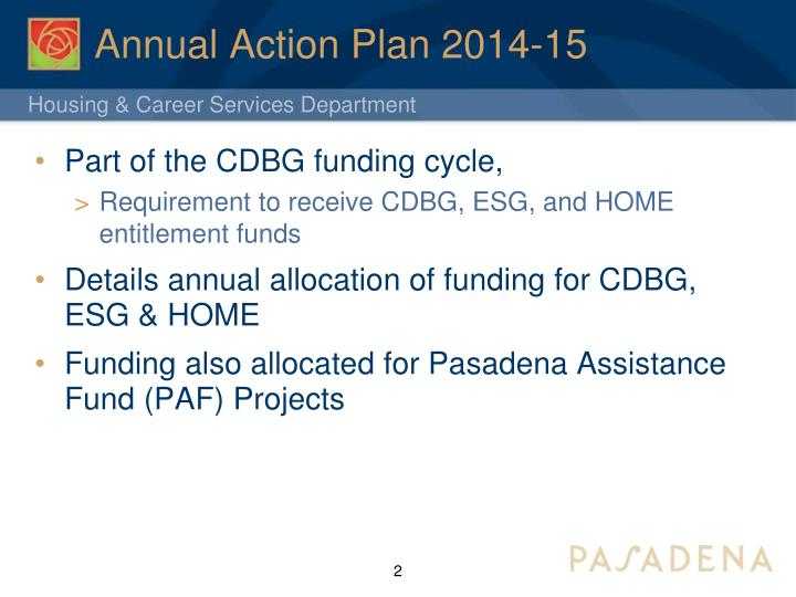 Annual action plan 2014 15