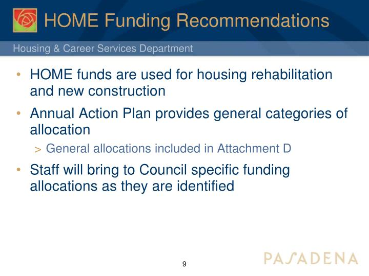 HOME Funding Recommendations