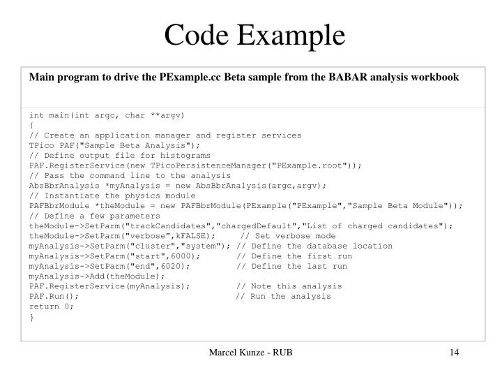 Main program to drive the PExample.cc Beta sample from the BABAR analysis workbook