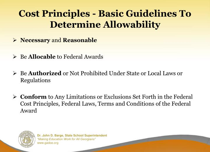 Cost Principles - Basic Guidelines To Determine Allowability