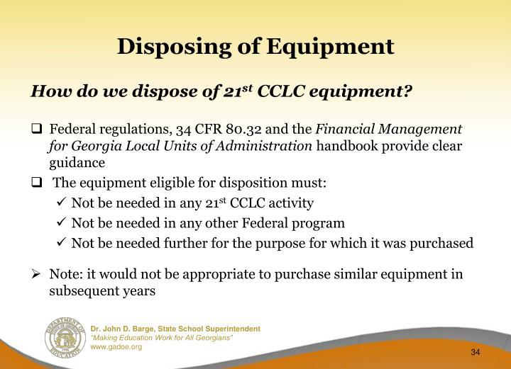 Disposing of Equipment