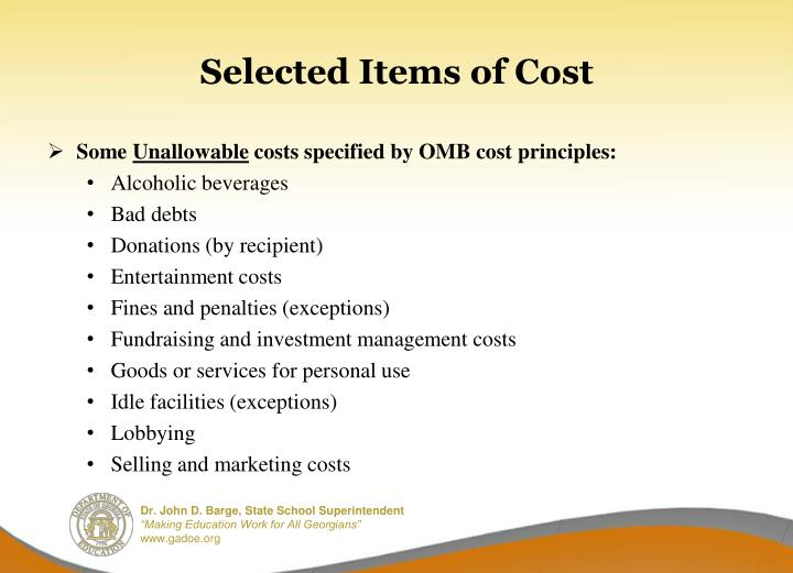 Selected Items of Cost