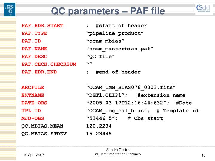QC parameters – PAF file