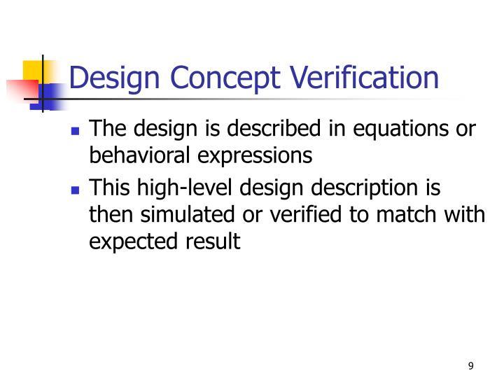 Design Concept Verification
