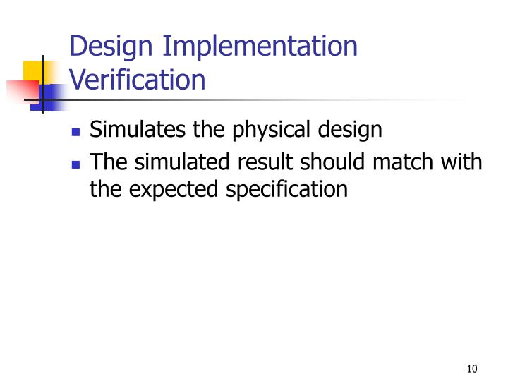 Design Implementation Verification