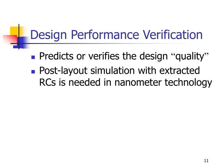 Design Performance Verification