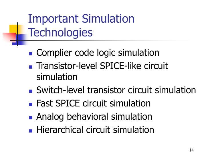 Important Simulation Technologies