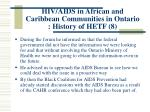 hiv aids in african and caribbean communities in ontario history of hetf 8