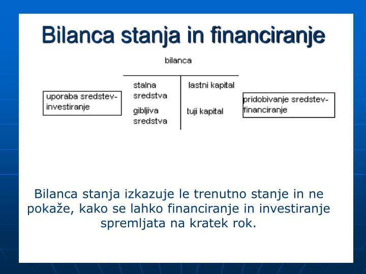 Bilanca stanja in financiranje