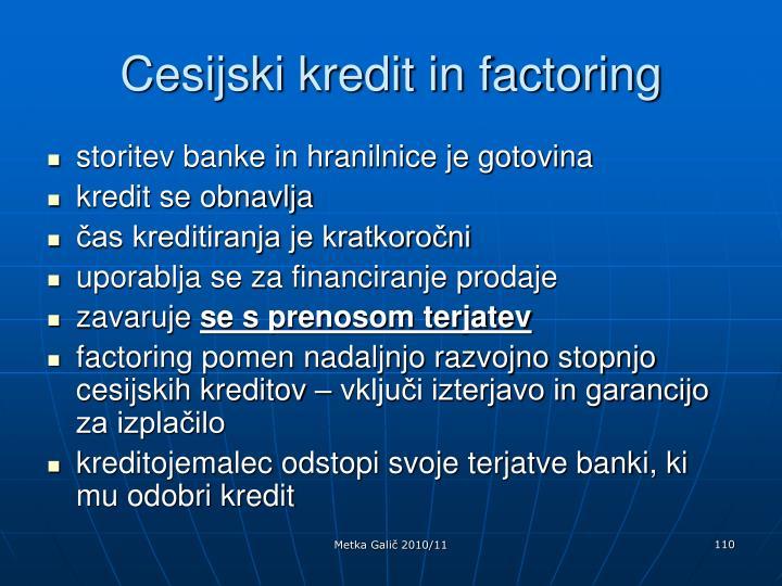 Cesijski kredit in factoring