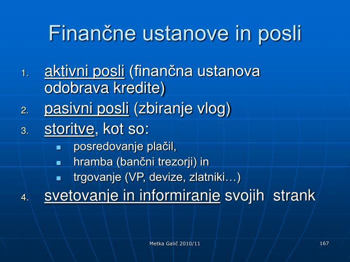 Finančne ustanove in posli