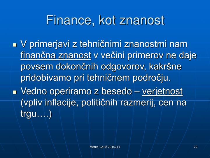 Finance, kot znanost