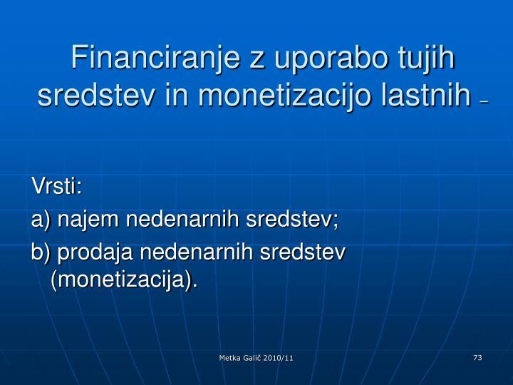 Financiranje z uporabo tujih sredstev in monetizacijo lastnih