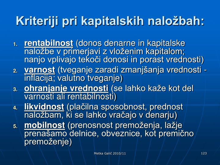 Kriteriji pri kapitalskih naložbah: