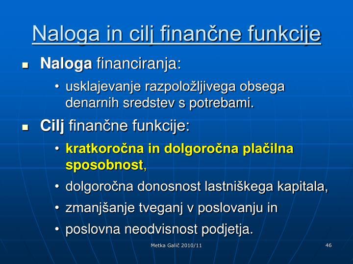 Naloga in cilj finančne funkcije