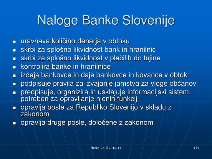 Naloge Banke Slovenije