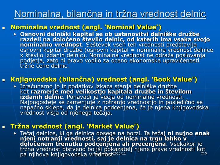 Nominalna, bilančna in tržna vrednost delnic
