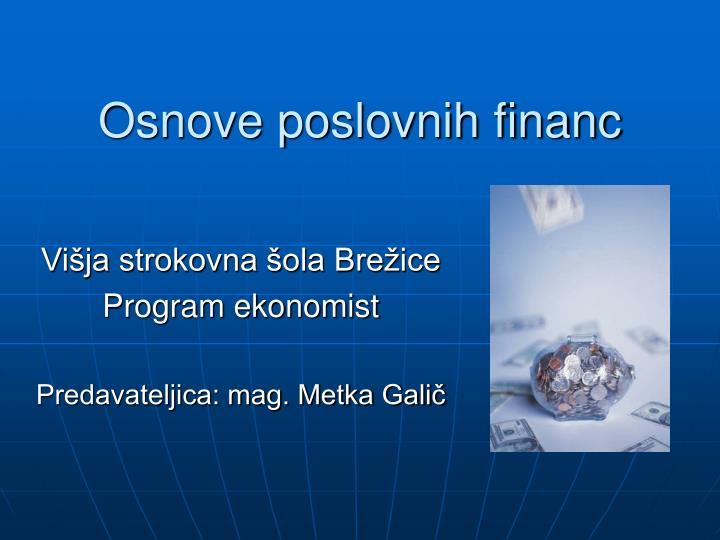 Osnove poslovnih financ