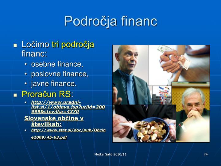 Področja financ