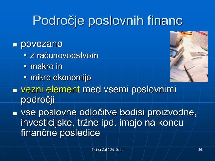 Področje poslovnih financ