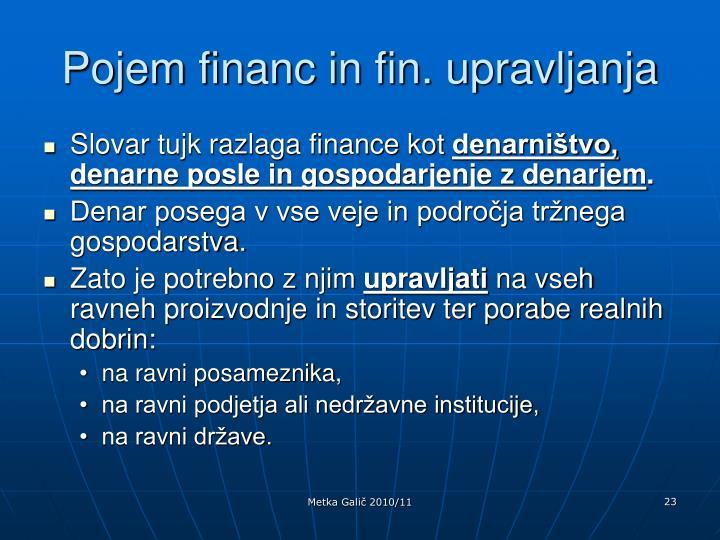 Pojem financ in fin. upravljanja