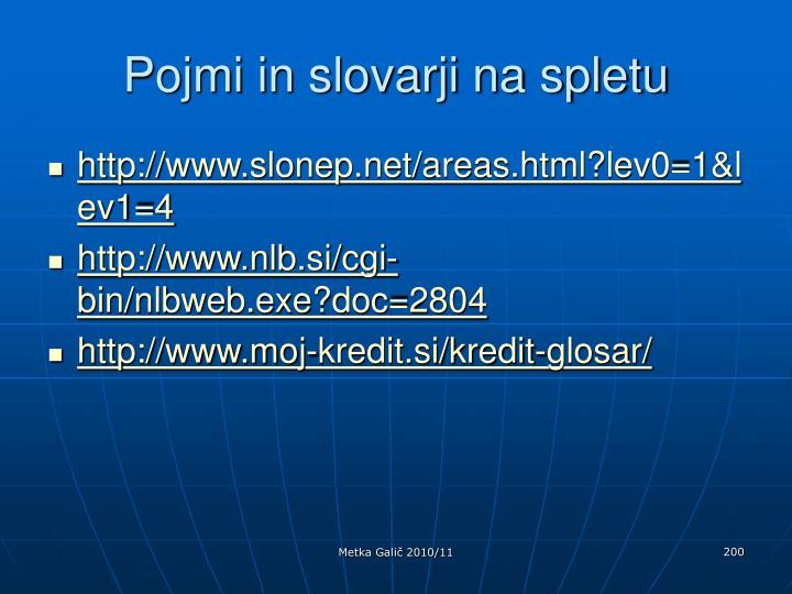 Pojmi in slovarji na spletu
