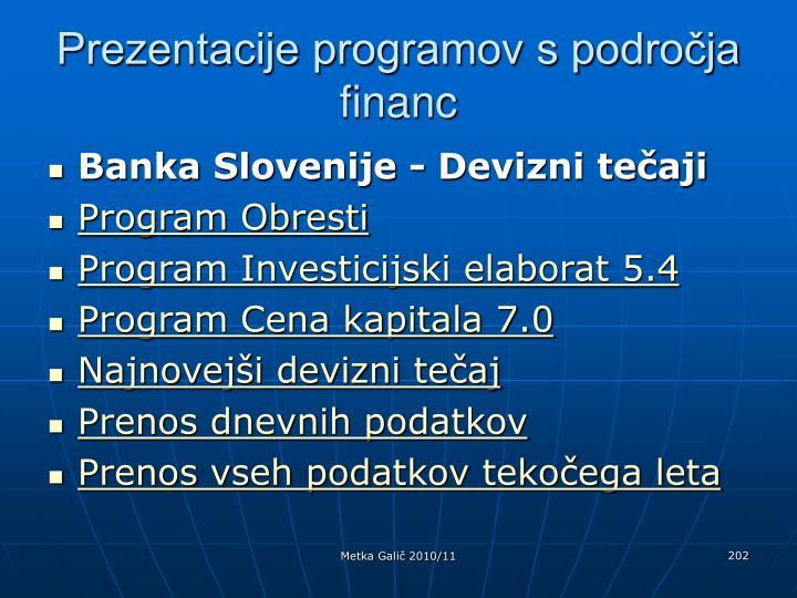 Prezentacije programov s področja financ