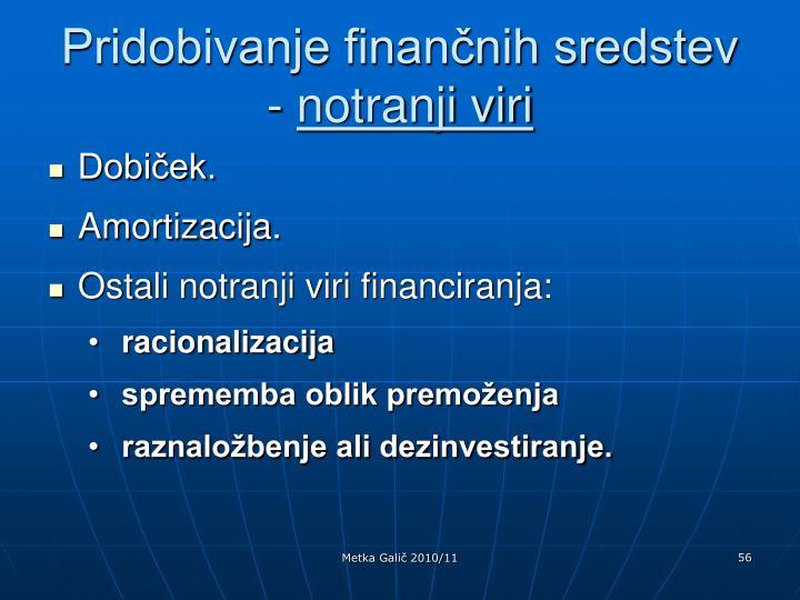 Pridobivanje finančnih sredstev -
