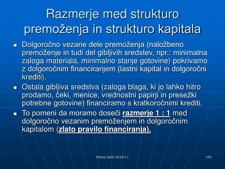 Razmerje med strukturo premoženja in strukturo kapitala