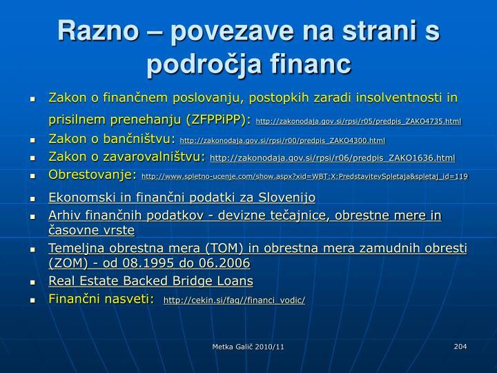 Razno – povezave na strani s področja financ
