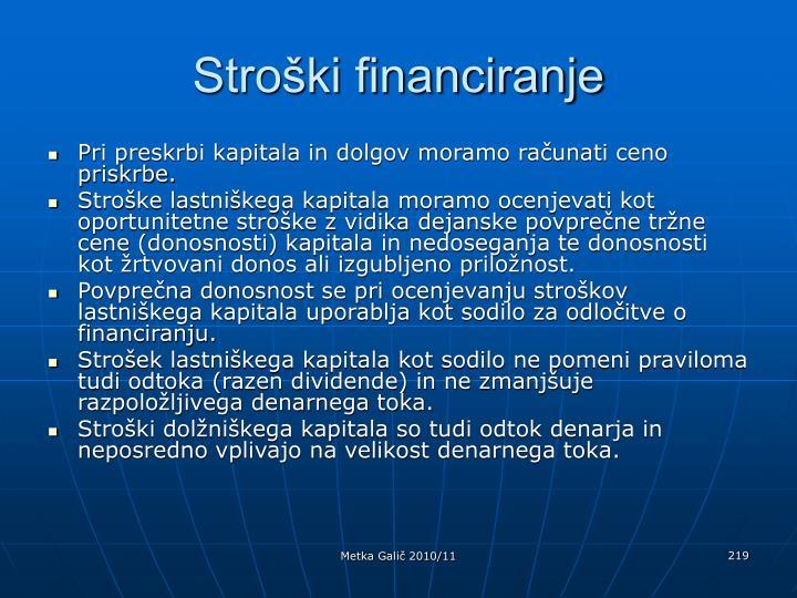 Stroški financiranje