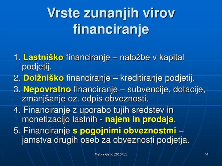 Vrste zunanjih virov financiranje