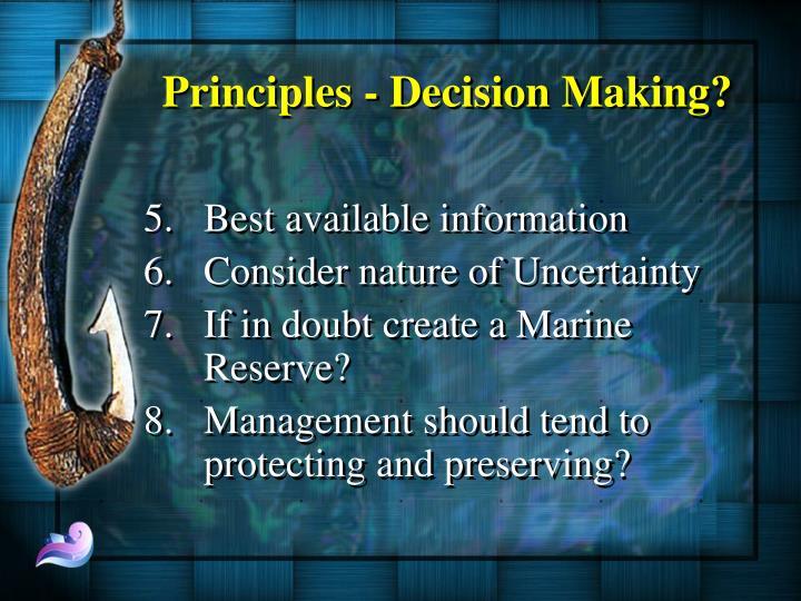 Principles - Decision Making?