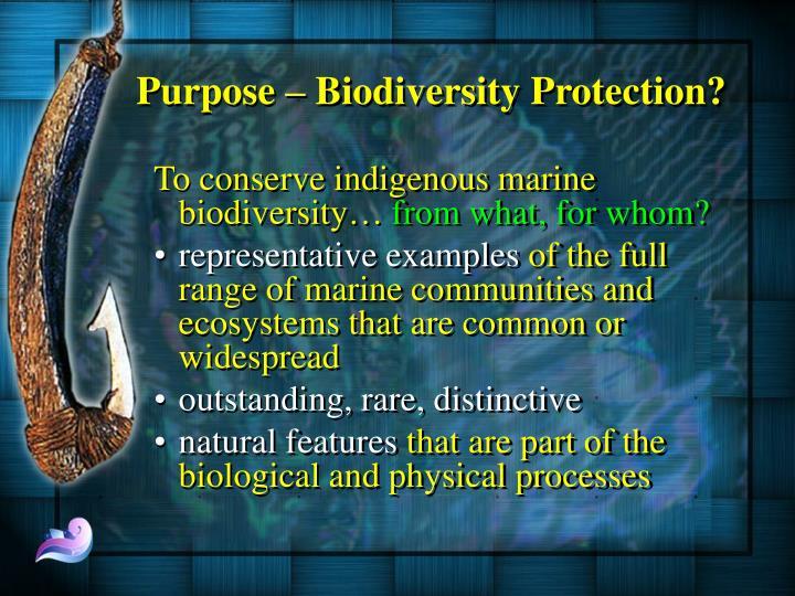 Purpose – Biodiversity Protection?