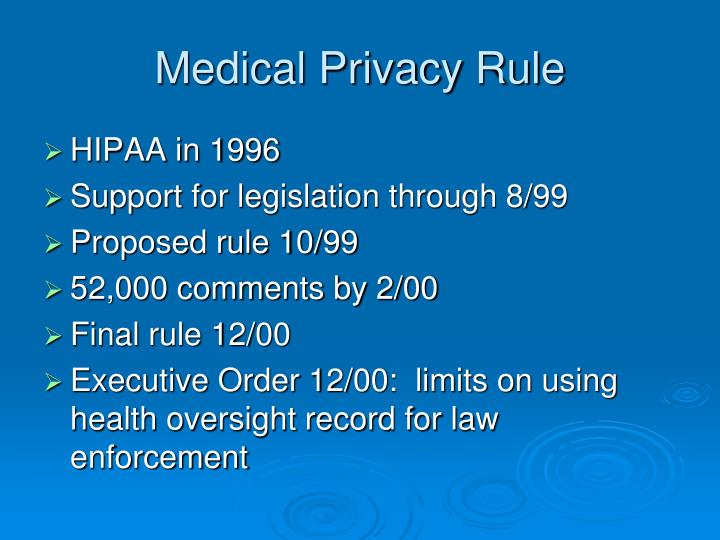 Medical Privacy Rule