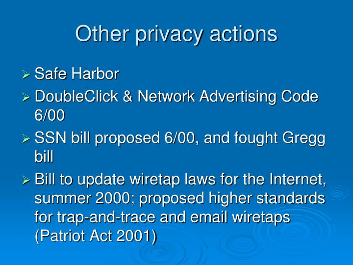 Other privacy actions