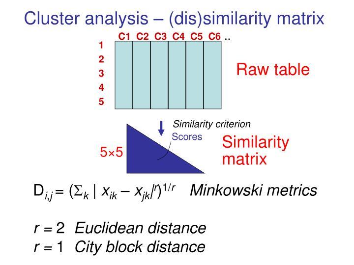 Cluster analysis – (dis)similarity matrix