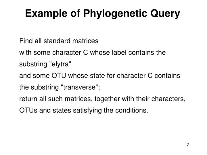 Example of Phylogenetic Query
