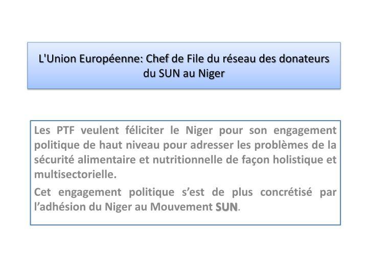 l union europ enne chef de file du r seau des donateurs du sun au niger n.