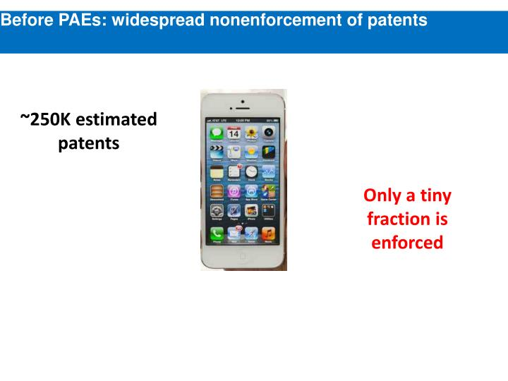 Before PAEs: widespread