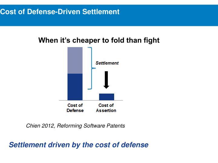 Cost of Defense-Driven Settlement