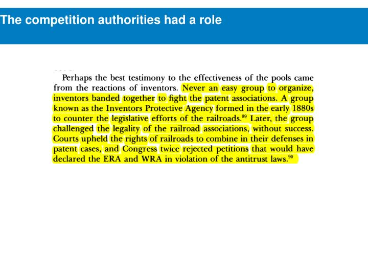 The competition authorities had a role