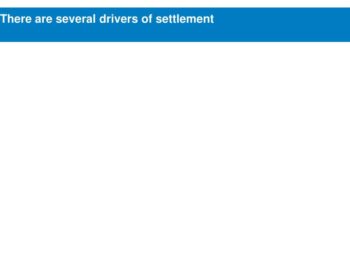 There are several drivers of settlement