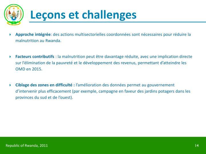 Leçons et challenges
