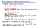 additions to mips isa to support exceptions